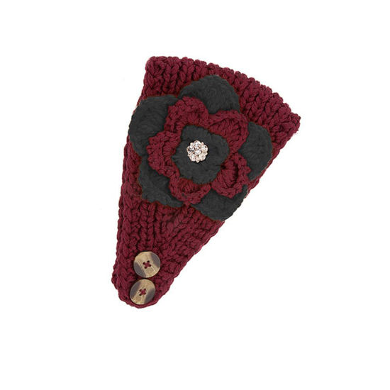 Occasionally Made Team Colors Crocheted Headwrap - Garnet & Black