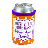 Team Colors Neoprene Coozie - Orange & Purple - Bless Your Heart