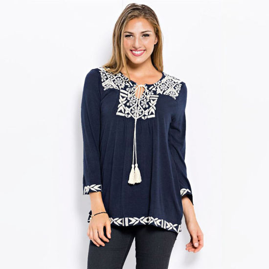 Easel Embroidered Top with Tassels