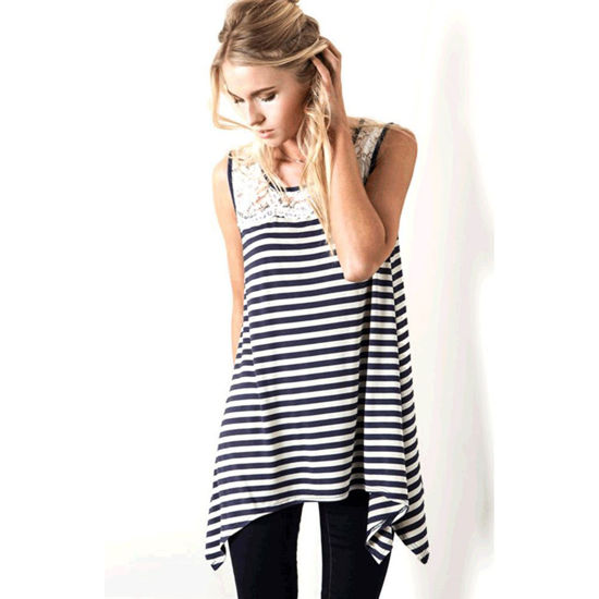 Kori America Striped Sleeveless Tank