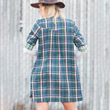Steezyer  Plaid Button Up Tab-Sleeve Top with Pockets