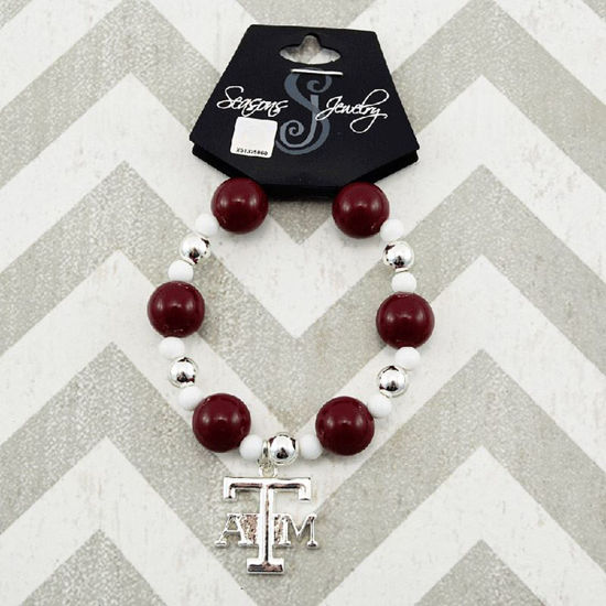Team Colors Bead Bracelet - Maroon & White