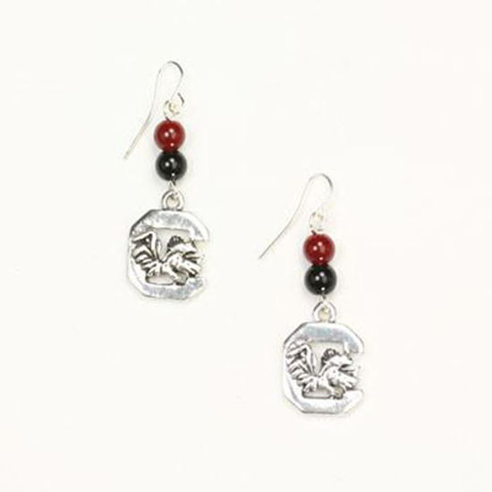 Seasons Jewelry Team Colors Bead Earrings - USC Gamecocks