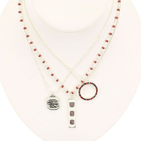Seasons Jewelry Collegiate by Seasons Trio Necklace - USC Gamecocks