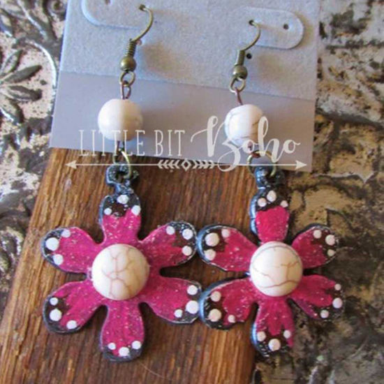 Pink Flower Earrings with White Stone