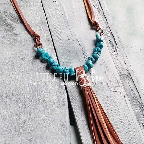 Turquoise Chunk Necklace with Tassel