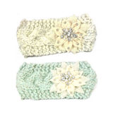 Olive & Pique Knitted Metallic Headwrap with Bling Flower in Mint