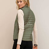 Solid Puffer Vest with Pockets