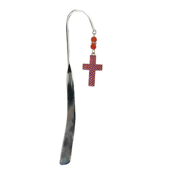 Comforting Clay Cross Bookmark - Purple & Orange