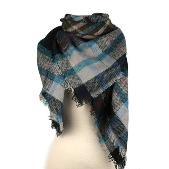Plaid Blanket Scarf - Blue & Grey