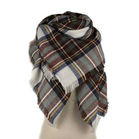 Plaid Blanket Scarf - Brown, Blue, & Cream
