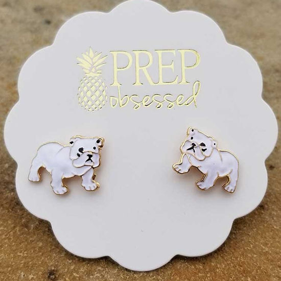 Enamel Pet Stud Earrings - Bulldog