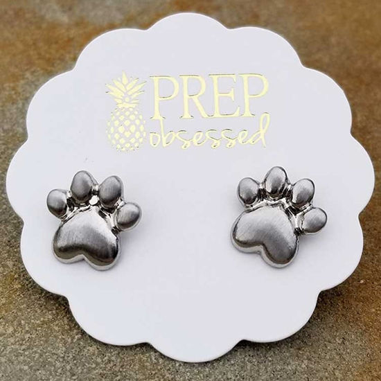 Metallic Silver Paw Print Stud Earrings