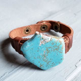 Blue Turquoise Chunk Leather Cuff Bracelet