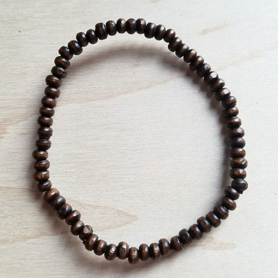 4mm Wood Beaded Bracelet