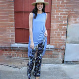 Blue Rose Feather Bell Bottom Pants