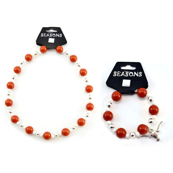 Picture of Team Colors Bead Jewelry Set - Burnt Orange & White