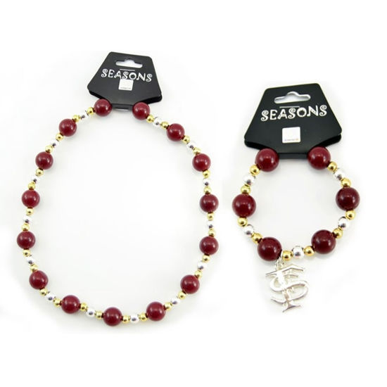 Picture of Team Colors Bead Jewelry Set - Garnet & Gold