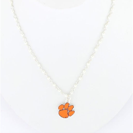 Clemson Tigers Enamel Logo & Pearl Necklace