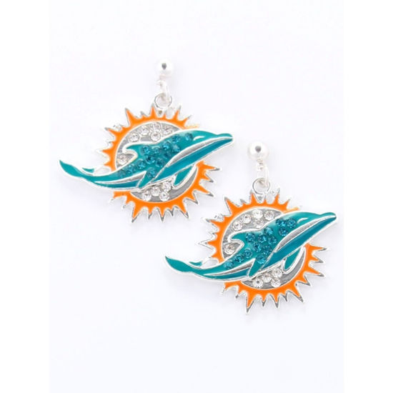Crystal Collection Crystal Logo Earrings - Miami Dolphins