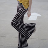 Black Striped Bell Bottom Pants