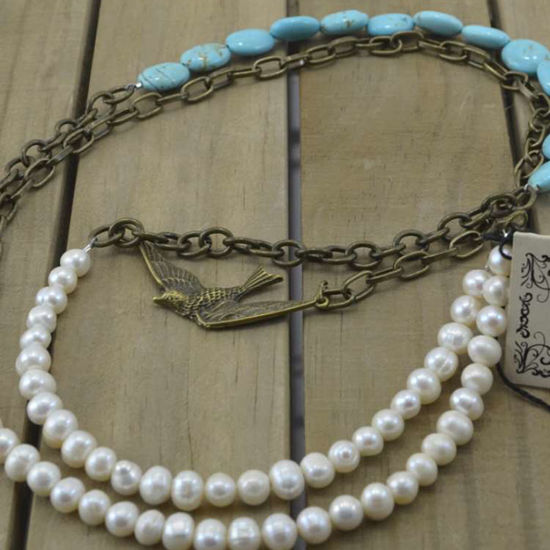 Scooples Designer Jewelry PEARL TURQUOISE BIRD Necklace