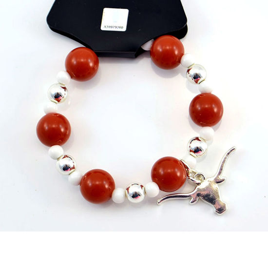 Team Colors Bead Bracelet - Burnt Orange & White