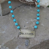 Turquoise BLESSED Pendant Necklace