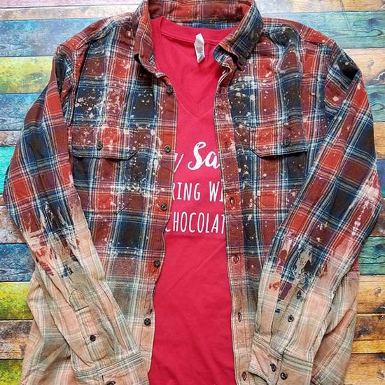 Hand Distressed Flannel Shirt - Rust