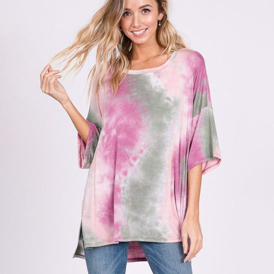 Tie Dye Oversize Top in Sage & Pink