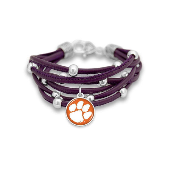 Clemson Tigers  - Lindy Purple Leather Bracelet