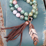 Jewelry Junkie Indian Agate Double Strand Bead Bracelet with Tassel