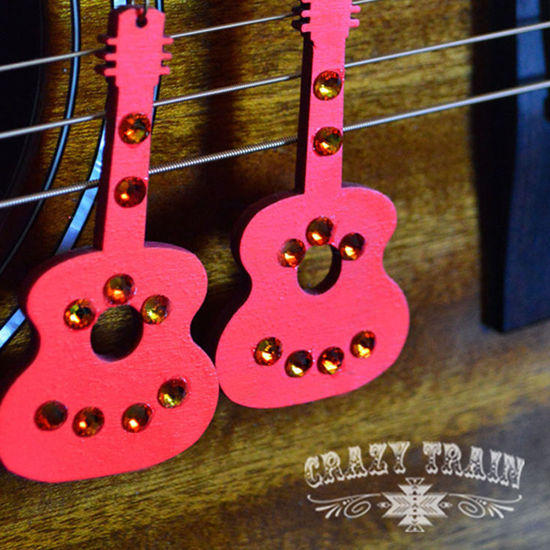 Crazy Train GLITZY GUITAR Coral Earrings