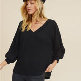 Raw Edge Waffle Knit Top with Criss Cross Back