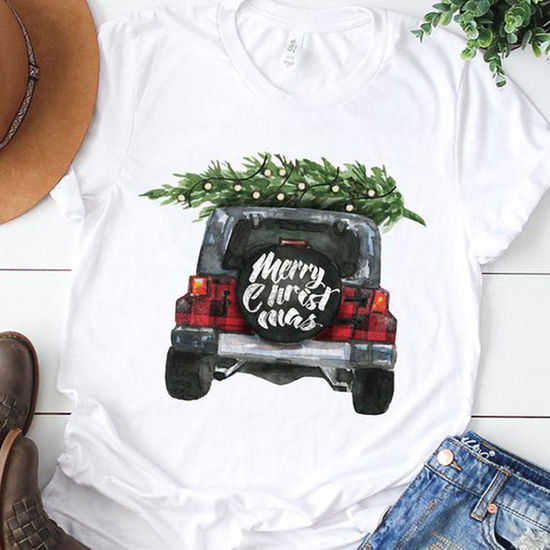 Watercolor Jeep Merry Christmas Tee