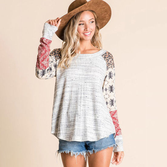 Long Sleeve Top with Color Block Sleeves