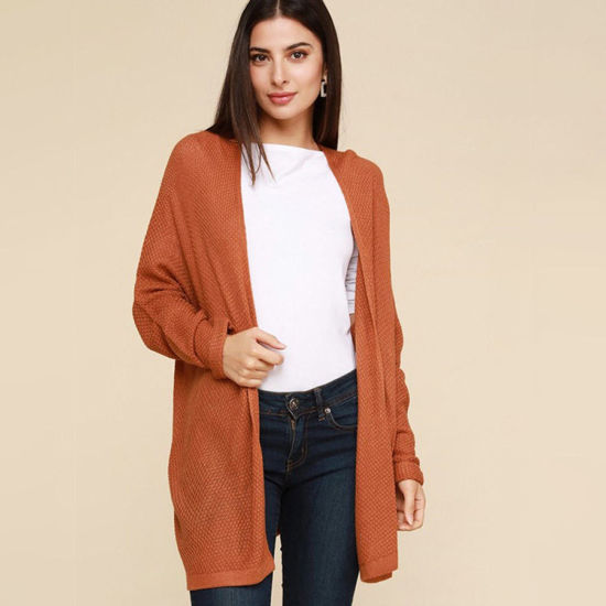 Lightweight Waffle Cardigan in Orange