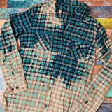 Ombre Bleached Flannel Shirt - Teal