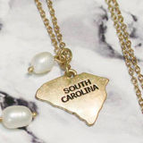 State & Pearl Dainty Necklace - SC