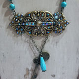 Turquoise Victorian Scroll Pendant Necklace