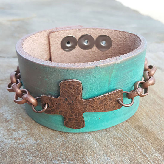 Jewelry Junkie Metallic Hand Painted Leather Cuff with Copper Cross