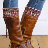 Grace & Lace Patterned Boot Cuffs in Nordic Fair Isle (brown/red/mint)