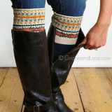Grace & Lace Patterned Boot Cuffs in Fair Isle (tan/mustard/coral)