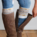 Grace & Lace Patterned Boot Cuffs in Aztec (grey/yellow)