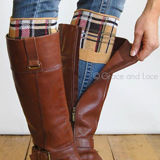 Grace & Lace Patterned Boot Cuffs in Plaid (tan)