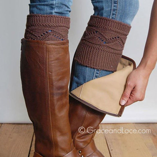 Grace & Lace Cable Knit Boot Cuffs in Coffee