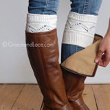 Grace & Lace Cable Knit Boot Cuffs in Off White
