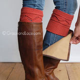 Grace & Lace Cable Knit Boot Cuffs in Red
