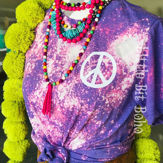 Peace Sign Purple Bleached Tee