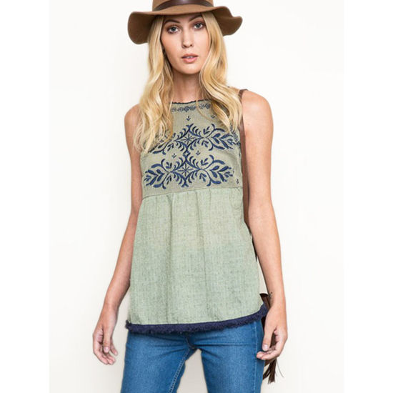 Hayden Los Angeles Embroidered Halter Top with Tassel Fringe